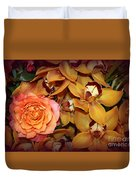 Pink Rose And Yellow Orchids Duvet Cover