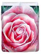 Pink Rose Flower Duvet Cover
