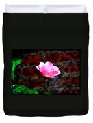 Pink Rose On Red Brick Wall Duvet Cover