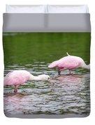 Pink Roseate Spoonbills Feeding Duvet Cover