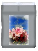 Pink Roses Against The Beautiful Arizona Sky Duvet Cover