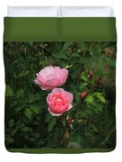 Pink Roses In A Garden Duvet Cover