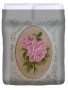 Pink Roses Oval Framed Duvet Cover