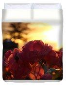 Pink Roses Sunset Duvet Cover