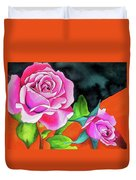 Pink Roses With Orange Duvet Cover