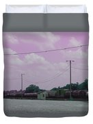 Pink Sky And Trains Duvet Cover