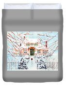 Pink Snow House Duvet Cover