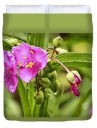 Pink Spiderwort Drip Drops Duvet Cover