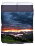 Pink Sunrise And Blue Clouds In The Mountains Of Kamnik Savinja  Duvet Cover