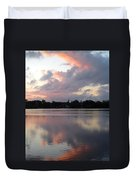 Pink Sunrise With Dramatic Clouds And Steeple On Jamaica Pond Duvet Cover