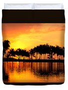 Pink Sunset And Palms Duvet Cover