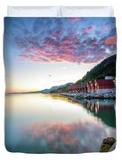 Pink Sunset Over A Lagoon In Norway Duvet Cover