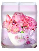 Pink Teacup Bouquet Duvet Cover