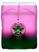 Pink Topaz And Emerald Green Necklace Fractal Duvet Cover
