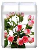 Pink Trimmed Roses Duvet Cover