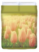 Pink Tulip Flowers In The Garden On Sunny Day In Spring Duvet Cover