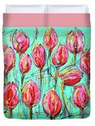 Pink Tulip, Turquoise Duvet Cover