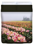 Pink Tulips And Tractor Duvet Cover