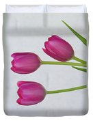 Pink Tulips And White Brick Wall Duvet Cover