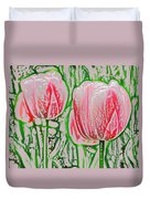 Pink Tulips With Block Effect Duvet Cover