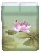 Pink Water Lily And Frog Duvet Cover