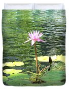 Pink Water Lily Pad Duvet Cover