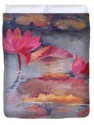 Pink Waterlilies Duvet Cover