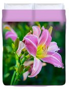 Pink White And Yellow Day Lily Duvet Cover