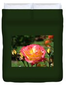 Pink Yellow Roses 3 Summer Rose Garden Giclee Art Prints Baslee Troutman Duvet Cover