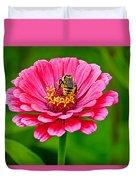 Pink Zinnia Bee Duvet Cover