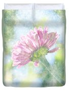 Pink Zinnia On Bokeh Background Duvet Cover
