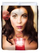 Pinup Poster Girl Drinking At Retro Cocktail Party Duvet Cover