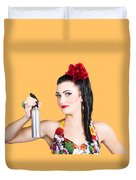 Pinup Woman Holding A Cleaning Spray Bottle Duvet Cover