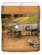 Pioneer Wagon And Broken Wheel Duvet Cover