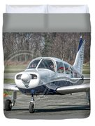Piper Pa28 I-cnpg Taxiing To The Runway Duvet Cover