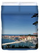 Piran Slovenia Gulf Of Trieste On The Adriatic Sea From The Punt Duvet Cover