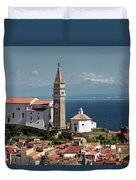 Piran Slovenia With St George's Cathedral Belfry And Baptistery  Duvet Cover