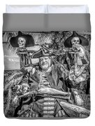 Pirate Captain And Parrots Black And White Duvet Cover