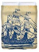 Pirate Ship Artwork - Vintage Duvet Cover by Nikki Marie Smith
