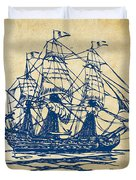 Pirate Ship Artwork - Vintage Duvet Cover