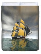 Pirate Ship On The High Seas Duvet Cover