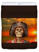 Pirate Skeleton Sunset Duvet Cover by Randy Steele