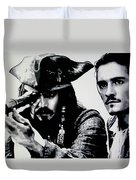 Pirates Of The Carribean Duvet Cover by Luis Ludzska