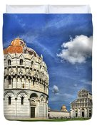 Pisa - Baptistry Duomo And Leaning Tower Duvet Cover