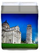 Pisa Cathedral With The Leaning Tower Of Pisa, Tuscany, Italy At Night Duvet Cover