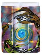 Pisces With Six Fence Lotus Duvet Cover