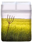 Pitch Fork In Wheat Field Duvet Cover
