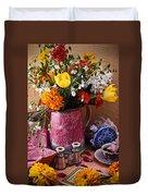 Pitcher Of Flowers Still Life Duvet Cover