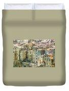 Pitigliano Houses Closeup Grosseto Tuscany Duvet Cover