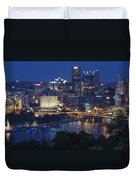 Pittsburgh Blue Hour Panoramic Duvet Cover